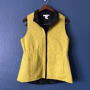 Cabi Chartreuse Full Zip Quilted Vest Outdoor S